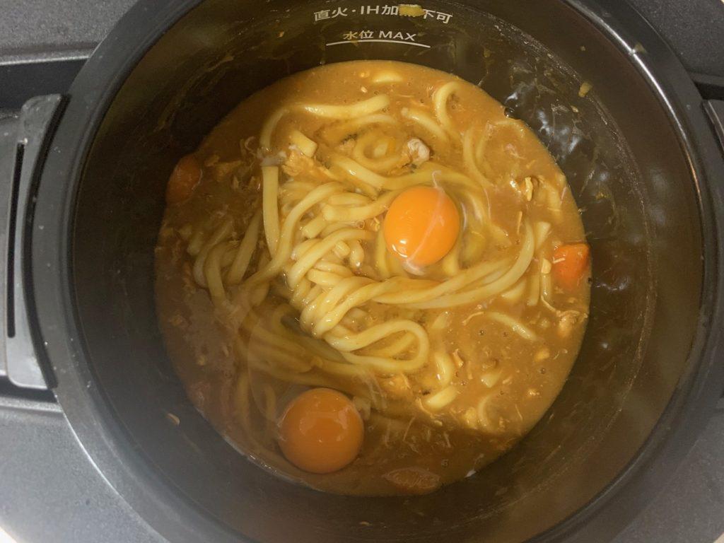 【ホットクック】カレーと残りのカレーで作る卵入りカレーうどんのレシピ
